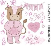 happy birthday girl 2021pink... | Shutterstock . vector #1817634044