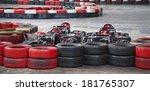 indoor karting race  2 kart and ... | Shutterstock . vector #181765307