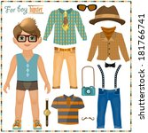 paper doll with a set of... | Shutterstock . vector #181766741