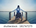 disabled young man in... | Shutterstock . vector #181767275