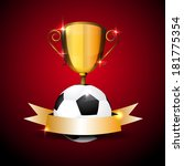soccer ball and trophy... | Shutterstock .eps vector #181775354