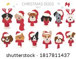 dog portraits in santa hats and ... | Shutterstock .eps vector #1817811437