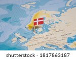 The Flag of Denmark in the World Map