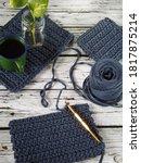 High Angle View Of Crochet...