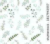 green plants pattern. the grass ... | Shutterstock . vector #1817943557