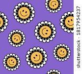 seamless retro positive flower...   Shutterstock .eps vector #1817954237