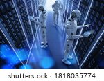 3d rendering group of automatiaon robots working in server room - stock photo