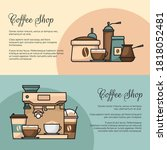 coffee banner. cup and coffee... | Shutterstock .eps vector #1818052481