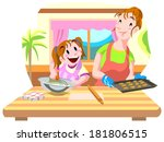 girl and mom making cookie... | Shutterstock . vector #181806515