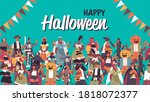 mix race people celebrating... | Shutterstock .eps vector #1818072377