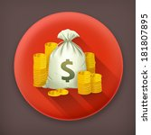 stacks of coins and money bag ...   Shutterstock .eps vector #181807895