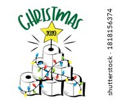 christmas 2020   funny greeting ... | Shutterstock .eps vector #1818156374