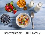 Ingredients for a healthy and nutritious breakfast - stock photo