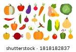 vector vegetables icons set in... | Shutterstock .eps vector #1818182837
