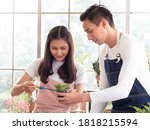 Asian family couple look after their horticultural business planting in glasshouse. Young man holds small tree pot and a beautiful woman trim it. Green plants interior design concept. - stock photo