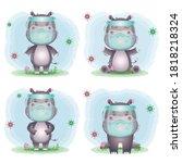 Cute Hippo Using Face Shield...