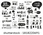 set of monochrome lettering... | Shutterstock .eps vector #1818220691