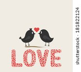 romantic card with two birds. | Shutterstock .eps vector #181822124