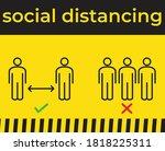 social distancing warning... | Shutterstock .eps vector #1818225311