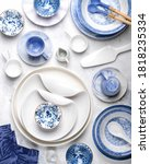 Ceramic Tableware On White...