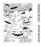 coloring page with halloween... | Shutterstock .eps vector #1818236681