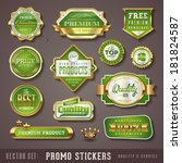 set of green and golden promo... | Shutterstock .eps vector #181824587