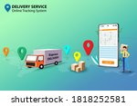 concept of delivery service...   Shutterstock .eps vector #1818252581