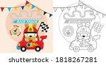 Race Car Cartoon With Funny...