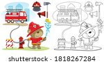 Funny Fireman Cartoon With...