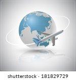 air plane around the world....   Shutterstock .eps vector #181829729