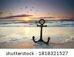 Anchor at the beach with sunset ...