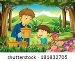 illustration of a father and a... | Shutterstock .eps vector #181832705