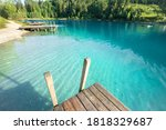 Magic Blue Lake With Wooden...