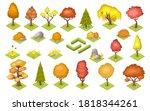 Set Of Isolated Autumn Trees...