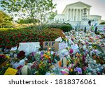 Small photo of WASHINGTON SEPTEMBER 20, 2020 – Notes and flowers are left at the Supreme Court of the United States in memory of late Supreme Court Justice Ruth Bader Ginsburg in Washington DC on September 20, 2020