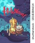 happy halloween vector...   Shutterstock .eps vector #1818384614