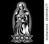 pray skull tattoo  vector eps 10   Shutterstock .eps vector #1818428177