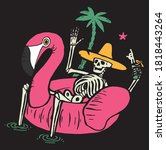 skeleton in pool flamingo... | Shutterstock .eps vector #1818443264