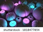 3d render pumpkin and candles... | Shutterstock . vector #1818477854