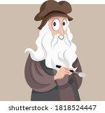 renaissance artist leonardo da... | Shutterstock .eps vector #1818524447