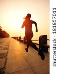 runner athlete running at... | Shutterstock . vector #181857011