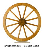 Wooden Wheel On A White...