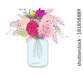 flower in mason jars set | Shutterstock .eps vector #181858889
