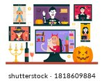 halloween online party. people... | Shutterstock .eps vector #1818609884
