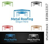 metal roofing logo for shingles ... | Shutterstock .eps vector #1818612317