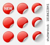 set of round glossy red...   Shutterstock .eps vector #1818622841