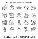 protective equipment  bold line ... | Shutterstock .eps vector #1818633644