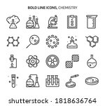 chemistry  bold line icons. the ... | Shutterstock .eps vector #1818636764