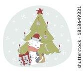 cute cartoon doodle baby bull...   Shutterstock .eps vector #1818649331