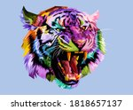 Angry Colorful Tiger On Pop Art ...